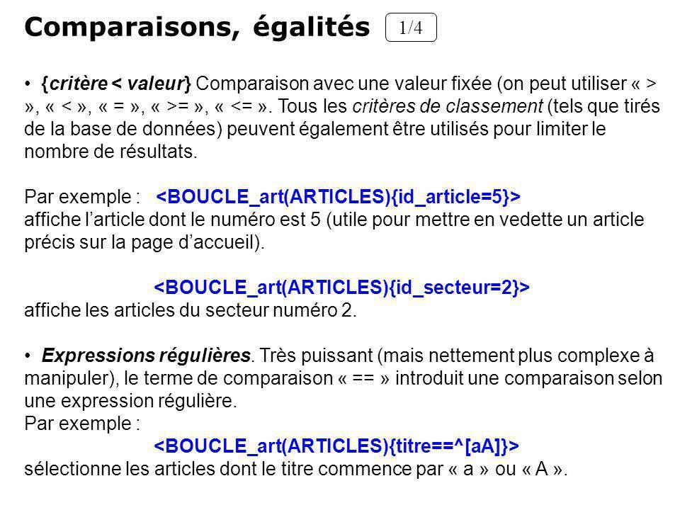 Comparaisons, égalités