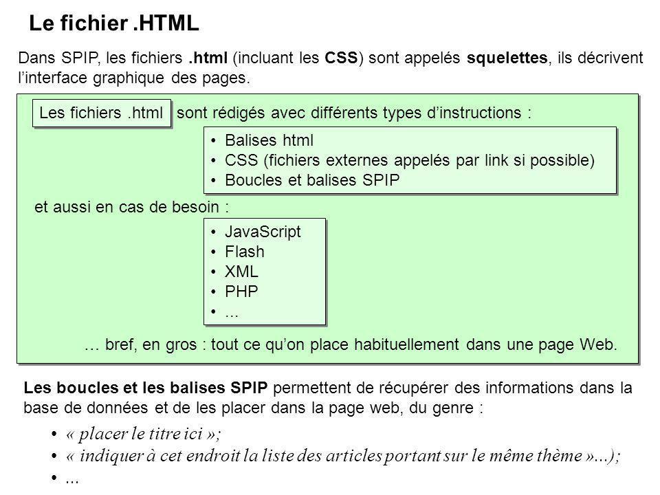 Le fichier .HTML « placer le titre ici »;