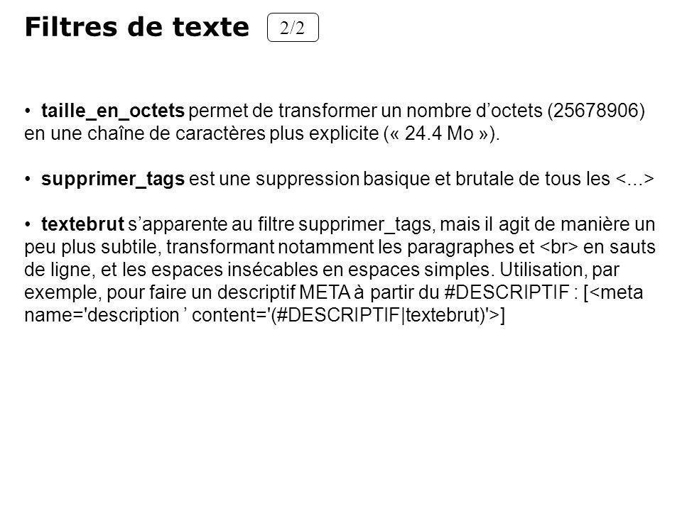 Filtres de texte 2/2. taille_en_octets permet de transformer un nombre d'octets (25678906) en une chaîne de caractères plus explicite (« 24.4 Mo »).