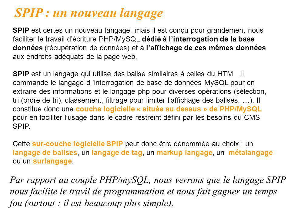 SPIP : un nouveau langage