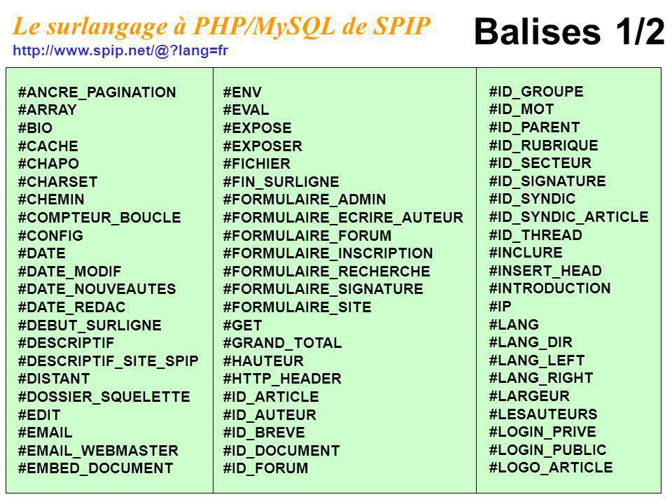 Balises 1/2 Le surlangage à PHP/MySQL de SPIP