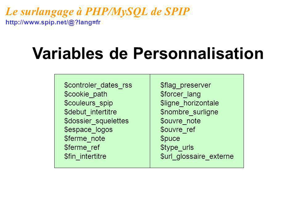 Variables de Personnalisation