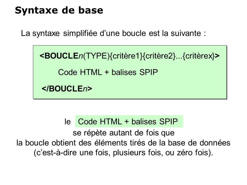 Syntaxe de base La syntaxe simplifiée d'une boucle est la suivante :