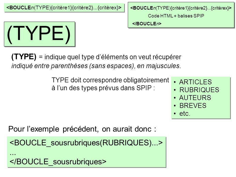 (TYPE) (TYPE) = indique quel type d'éléments on veut récupérer