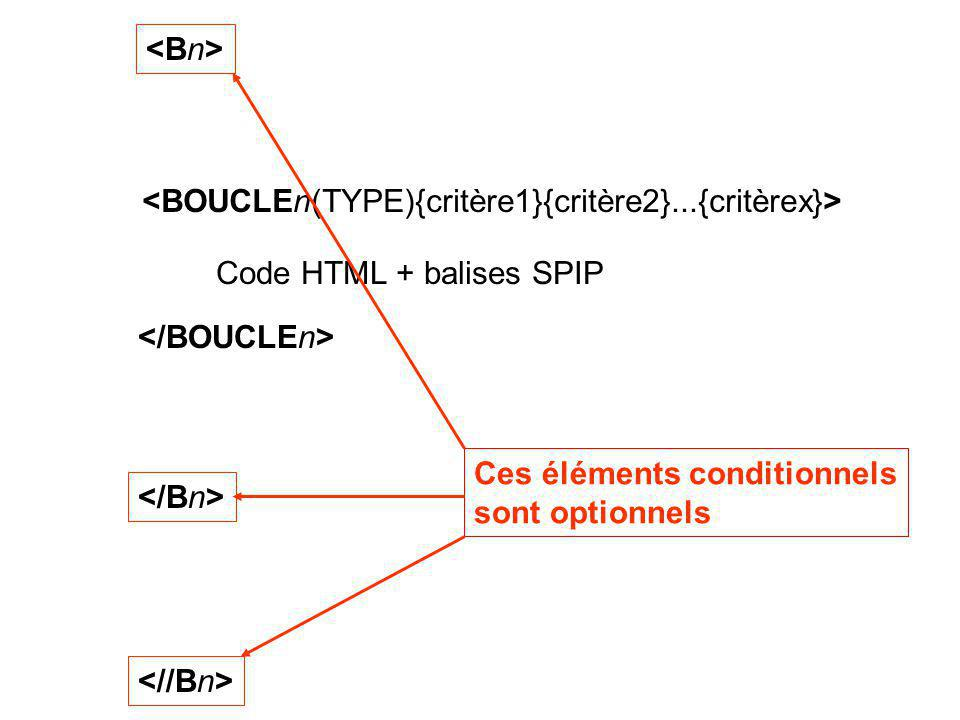 <Bn> Ces éléments conditionnels. sont optionnels. <BOUCLEn(TYPE){critère1}{critère2}...{critèrex}>