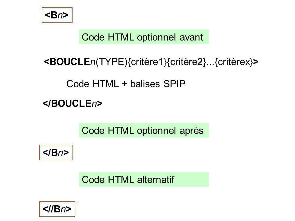<Bn> Code HTML optionnel avant. <BOUCLEn(TYPE){critère1}{critère2}...{critèrex}> Code HTML + balises SPIP.