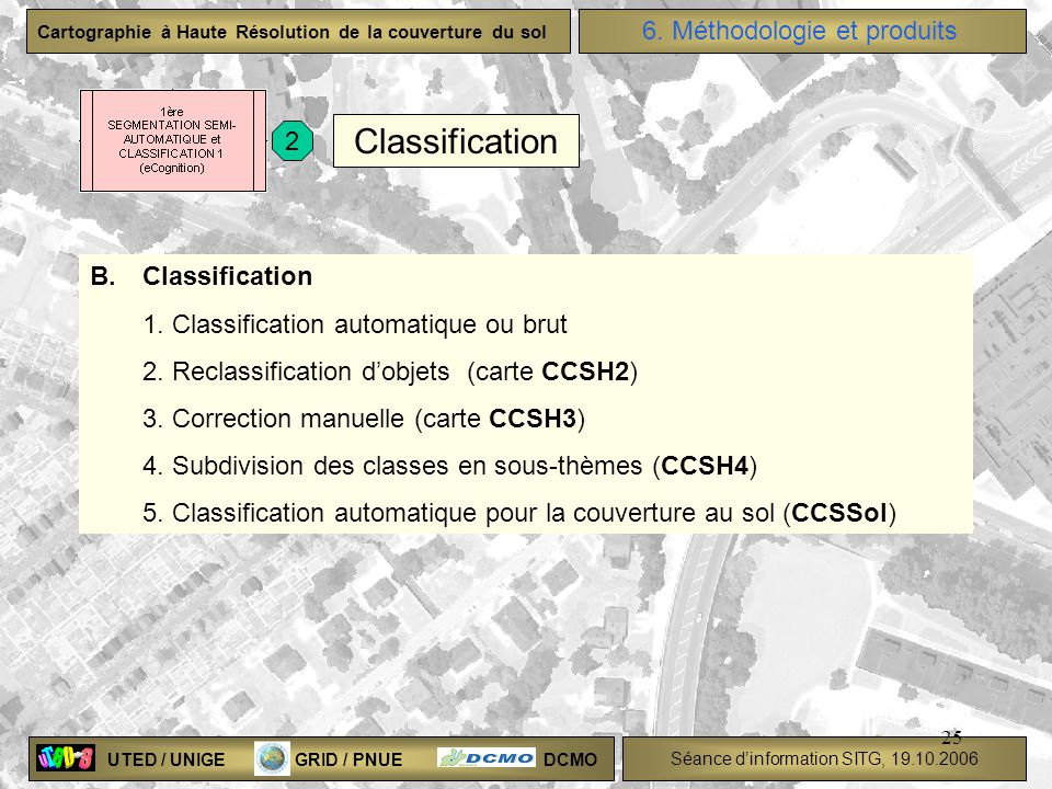 Classification 6. Méthodologie et produits 2 B. Classification