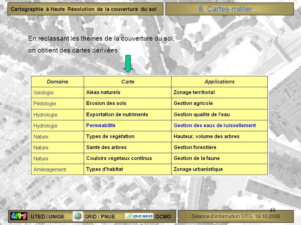 8. Cartes-métier En reclassant les thèmes de la couverture du sol,