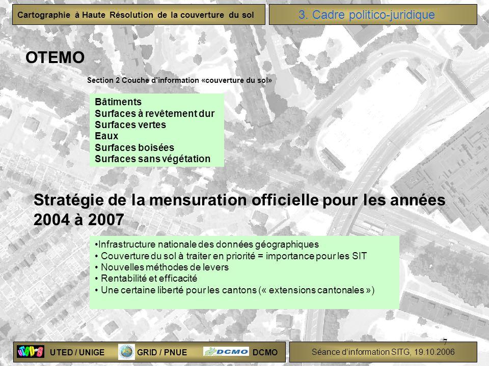 Stratégie de la mensuration officielle pour les années 2004 à 2007