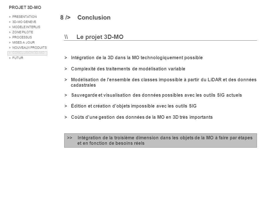8 /> Conclusion \\ Le projet 3D-MO
