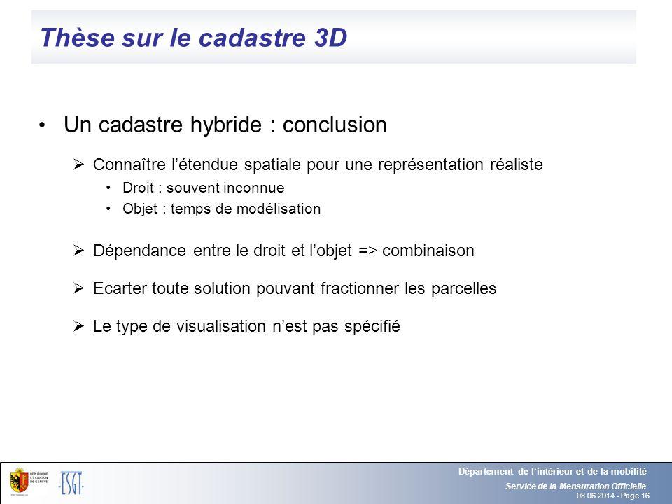 Thèse sur le cadastre 3D Un cadastre hybride : conclusion