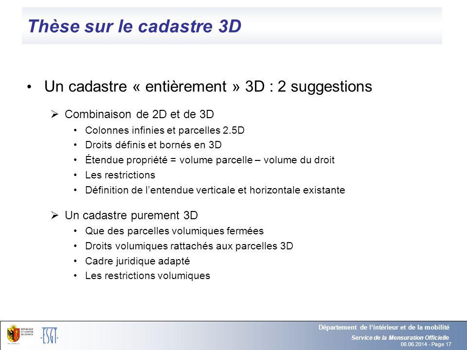 Thèse sur le cadastre 3D Un cadastre « entièrement » 3D : 2 suggestions. Combinaison de 2D et de 3D.