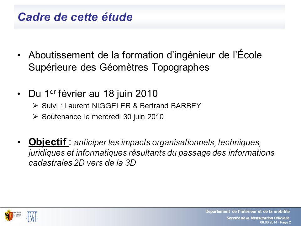 Cadre de cette étude Aboutissement de la formation d'ingénieur de l'École Supérieure des Géomètres Topographes.