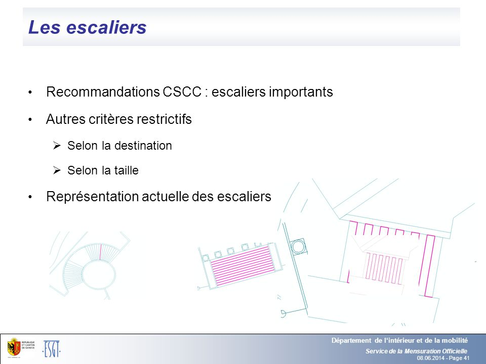 Les escaliers Recommandations CSCC : escaliers importants