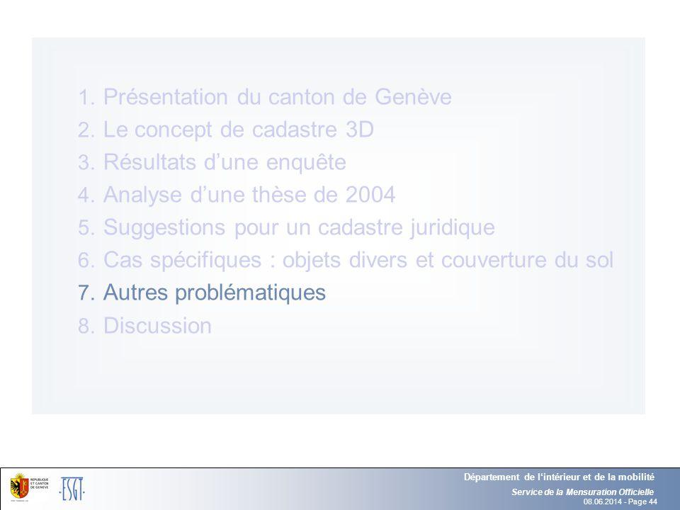 Présentation du canton de Genève Le concept de cadastre 3D