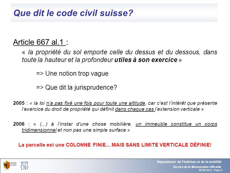 Que dit le code civil suisse