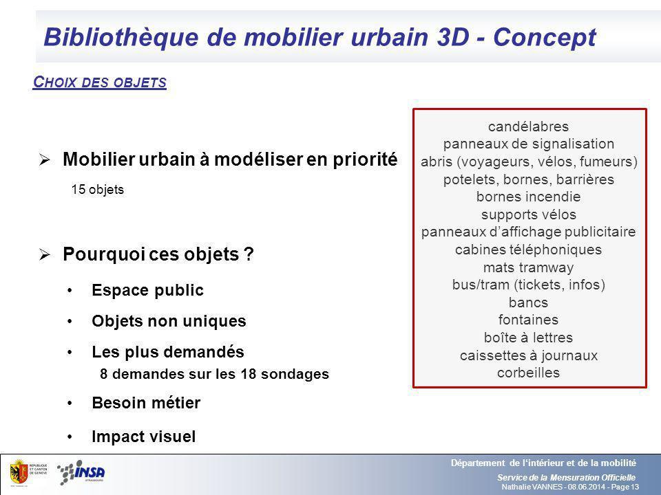 Bibliothèque de mobilier urbain 3D - Concept