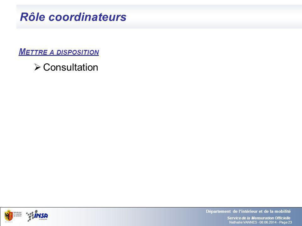 Rôle coordinateurs Consultation Mettre a disposition