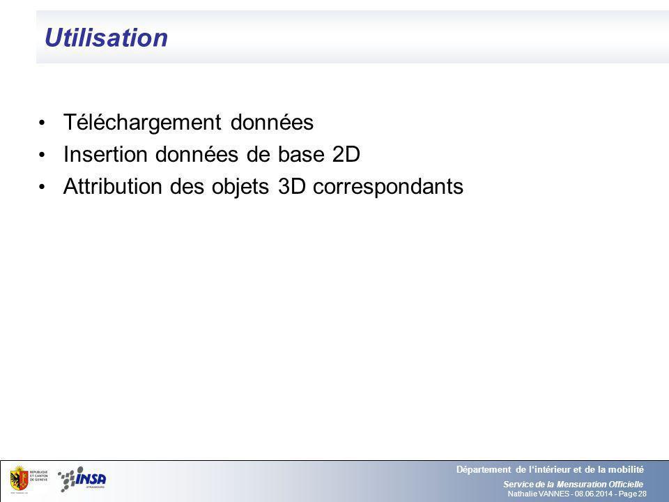 Utilisation Téléchargement données Insertion données de base 2D