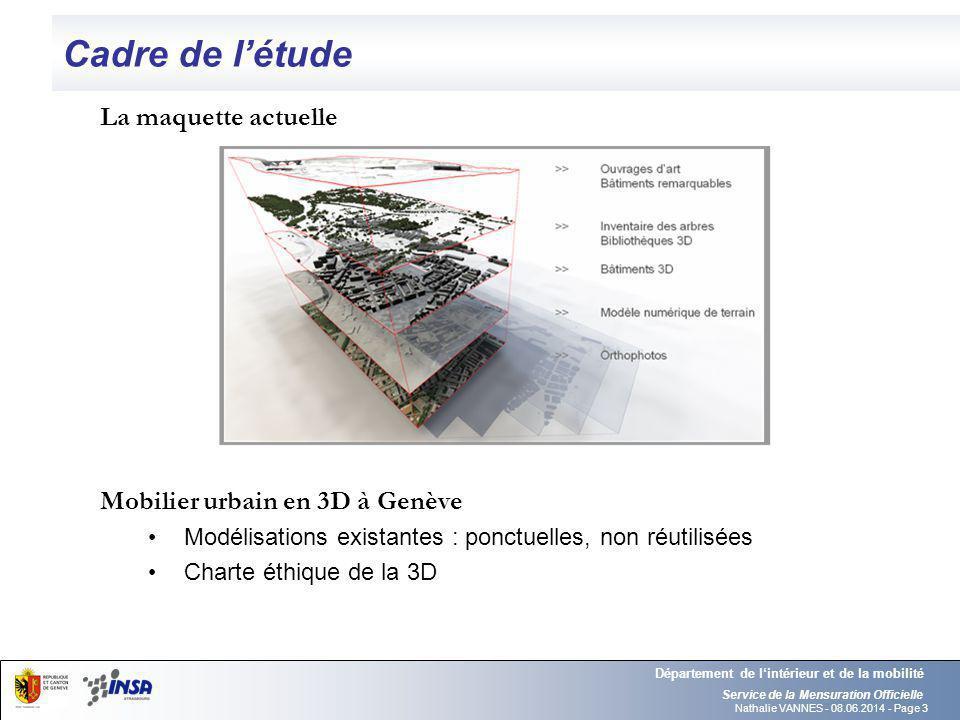 Cadre de l'étude La maquette actuelle Mobilier urbain en 3D à Genève