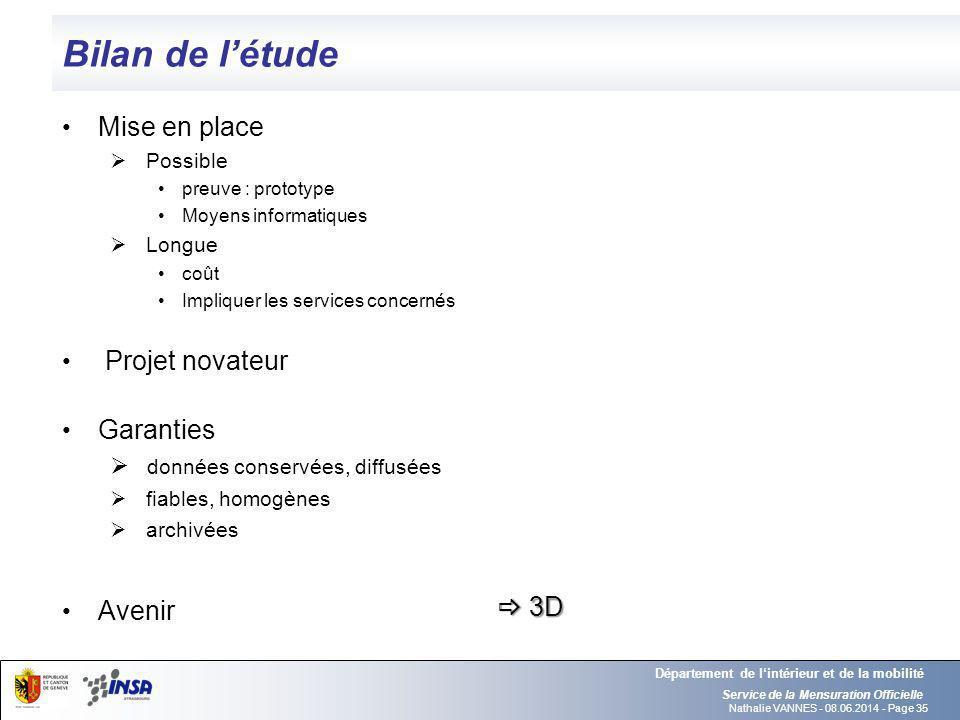 Bilan de l'étude Mise en place Projet novateur Garanties Avenir  3D