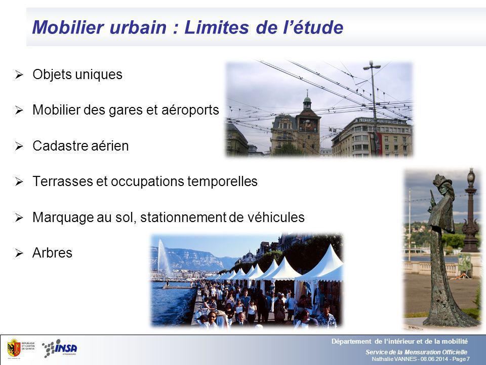 Mobilier urbain : Limites de l'étude