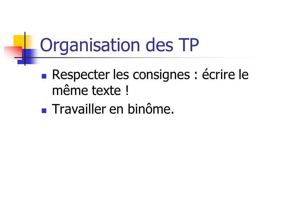 Organisation des TP Respecter les consignes : écrire le même texte !