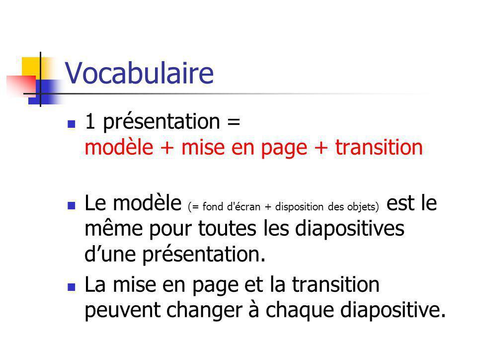 Vocabulaire 1 présentation = modèle + mise en page + transition