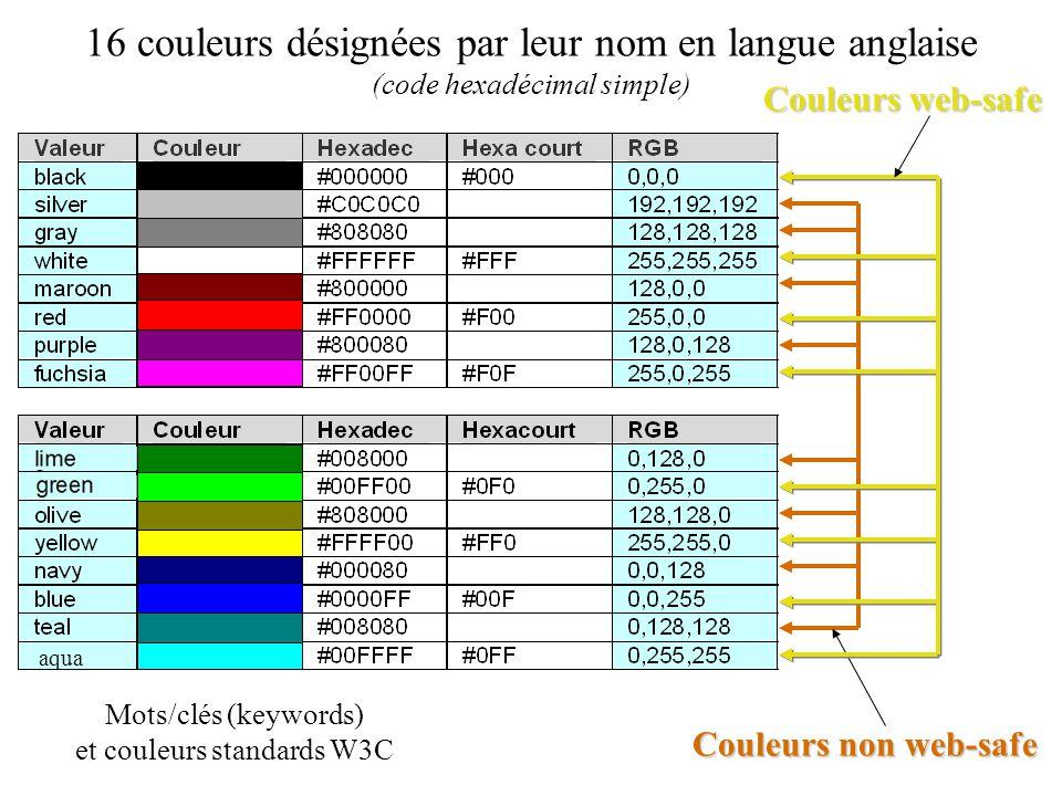 16 couleurs désignées par leur nom en langue anglaise