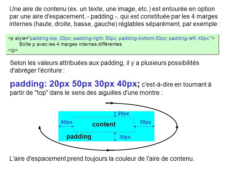 Une aire de contenu (ex. un texte, une image, etc
