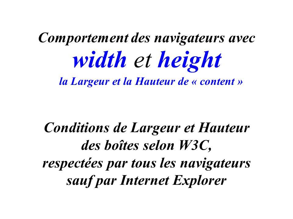 width et height Comportement des navigateurs avec