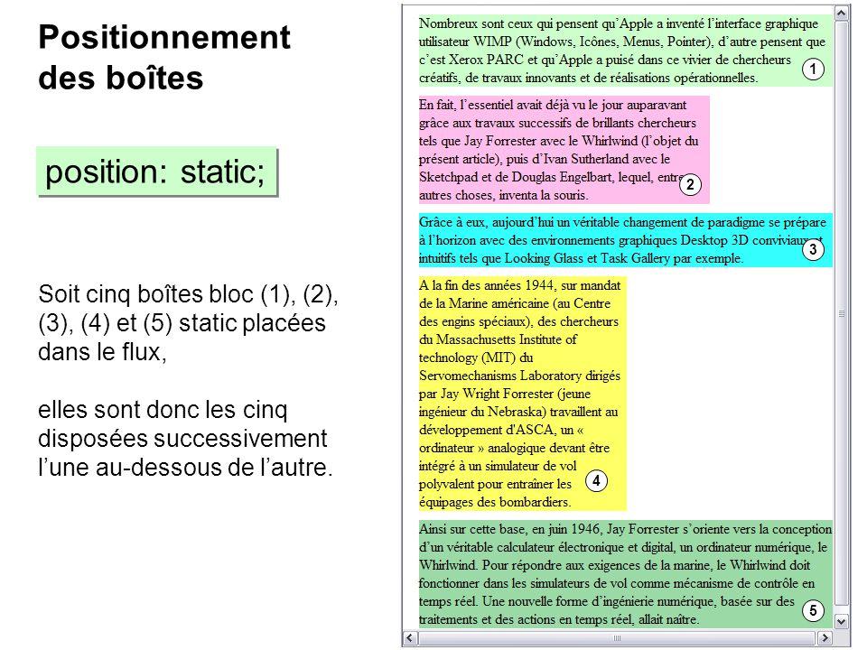 Positionnement des boîtes position: static;
