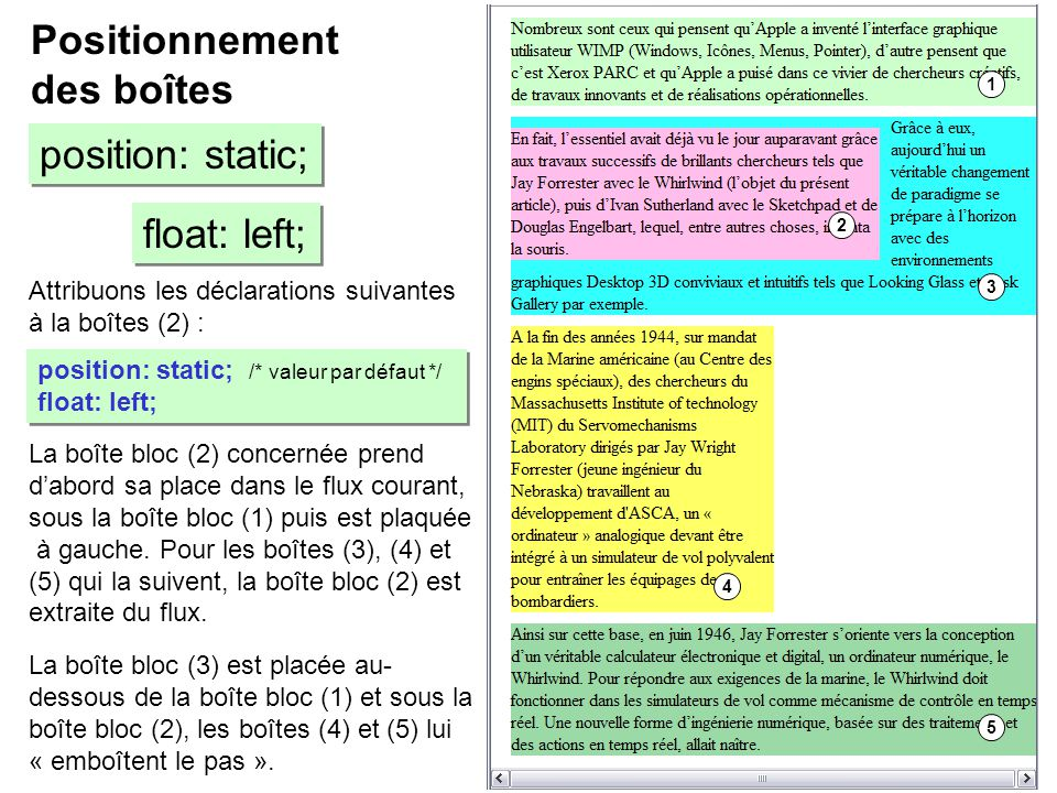 Positionnement des boîtes position: static; float: left;