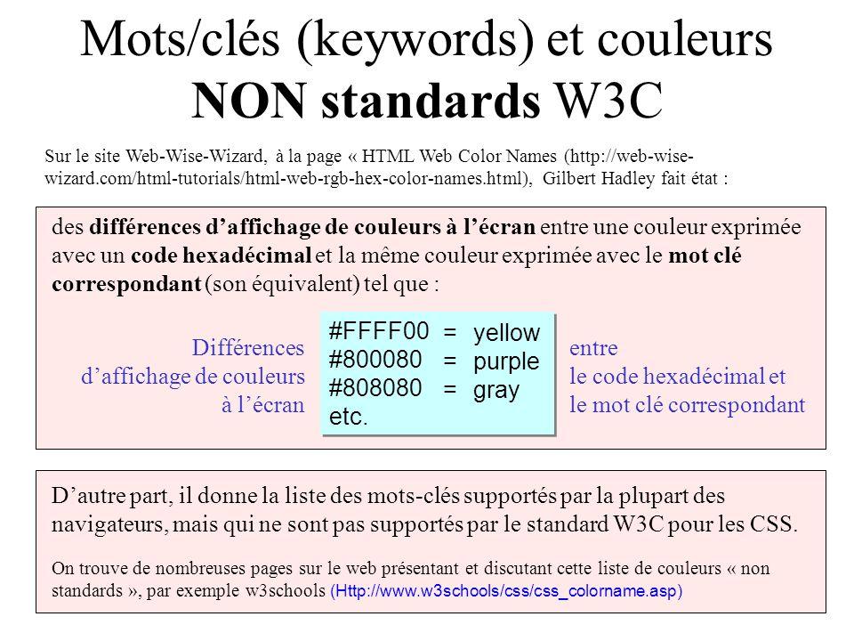 Mots/clés (keywords) et couleurs