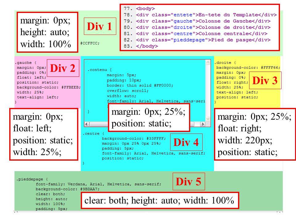 Div 1 Div 2 Div 3 Div 4 Div 5 margin: 0px; height: auto; width: 100%