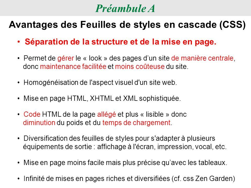 Préambule A Avantages des Feuilles de styles en cascade (CSS)