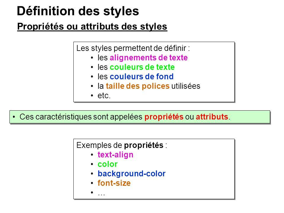 Définition des styles Propriétés ou attributs des styles