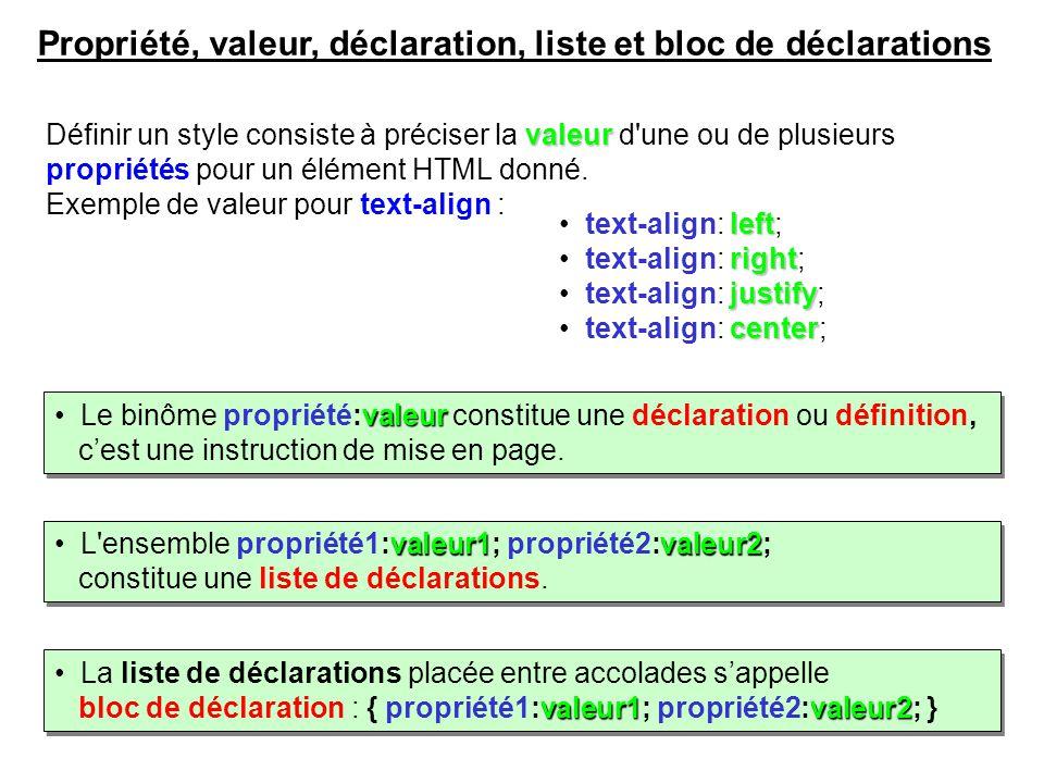 Propriété, valeur, déclaration, liste et bloc de déclarations