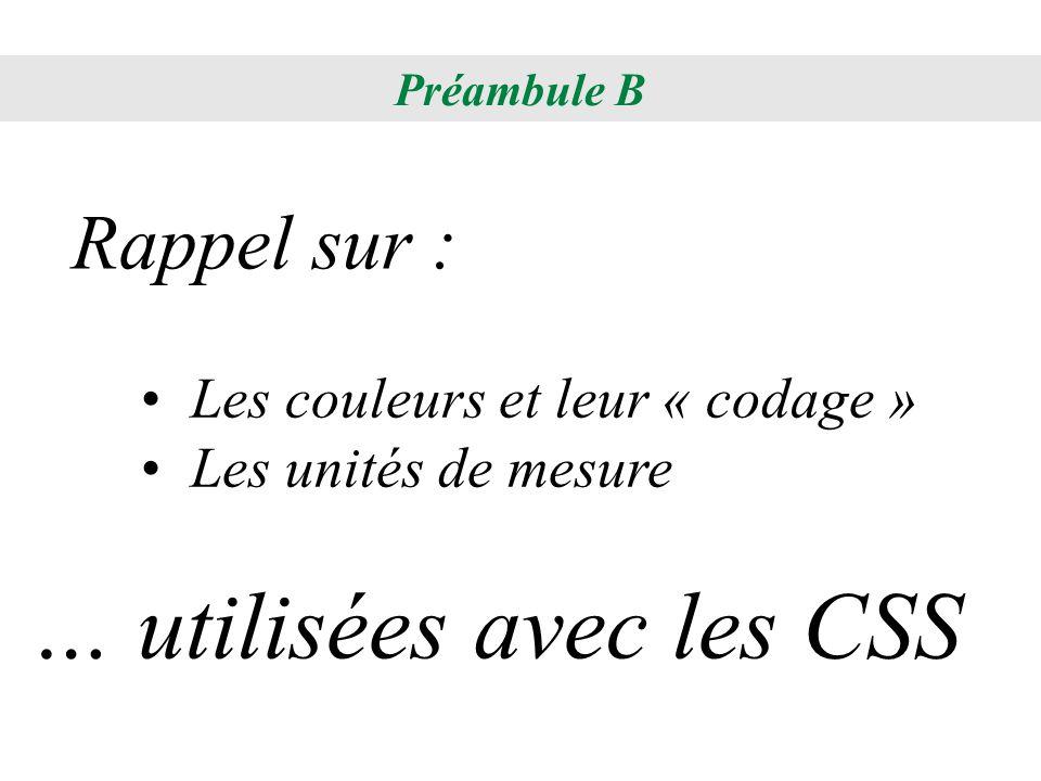 … utilisées avec les CSS
