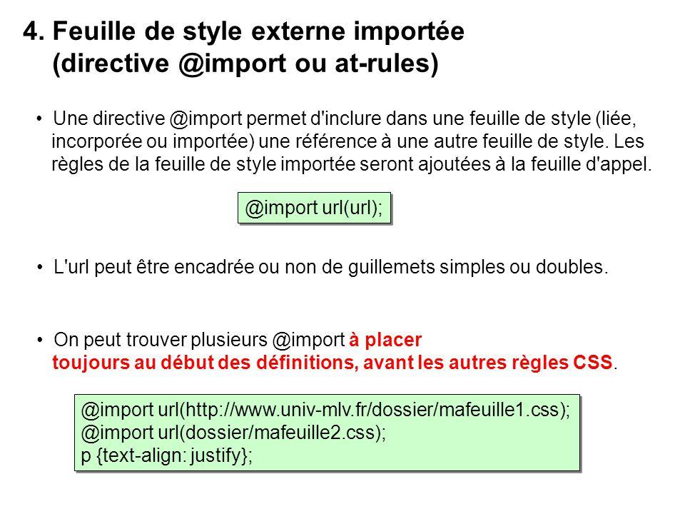 4. Feuille de style externe importée (directive @import ou at-rules)