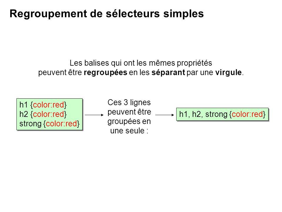 Regroupement de sélecteurs simples