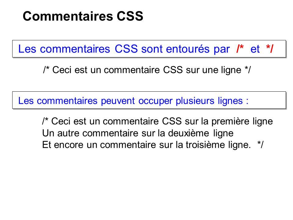 Commentaires CSS Les commentaires CSS sont entourés par /* et */
