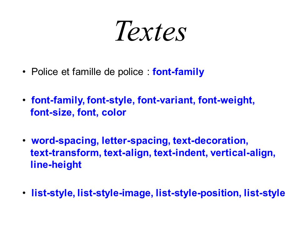 Textes Police et famille de police : font-family