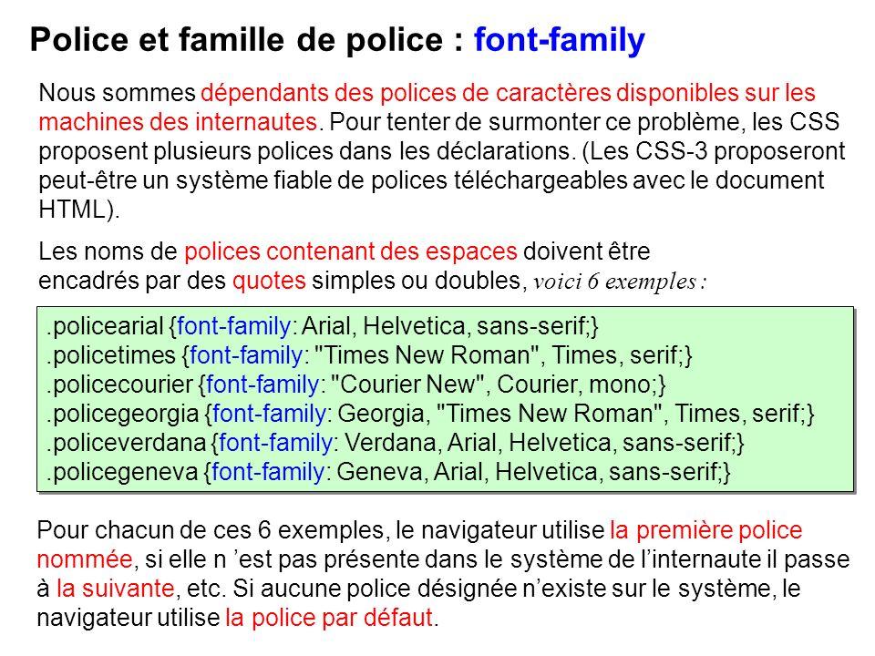 Police et famille de police : font-family
