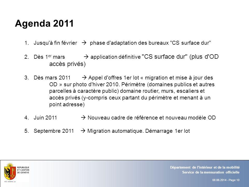 Agenda 2011 Jusqu à fin février  phase d adaptation des bureaux CS surface dur