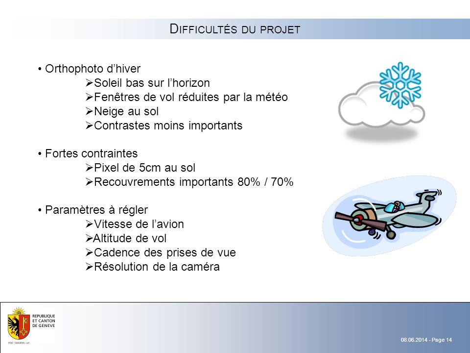 Difficultés du projet Orthophoto d'hiver Soleil bas sur l'horizon