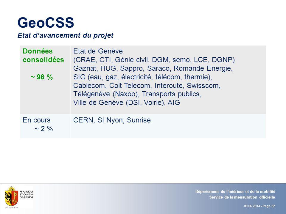 GeoCSS Etat d'avancement du projet