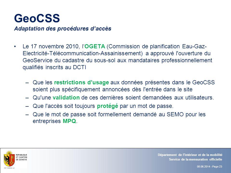 GeoCSS Adaptation des procédures d'accès