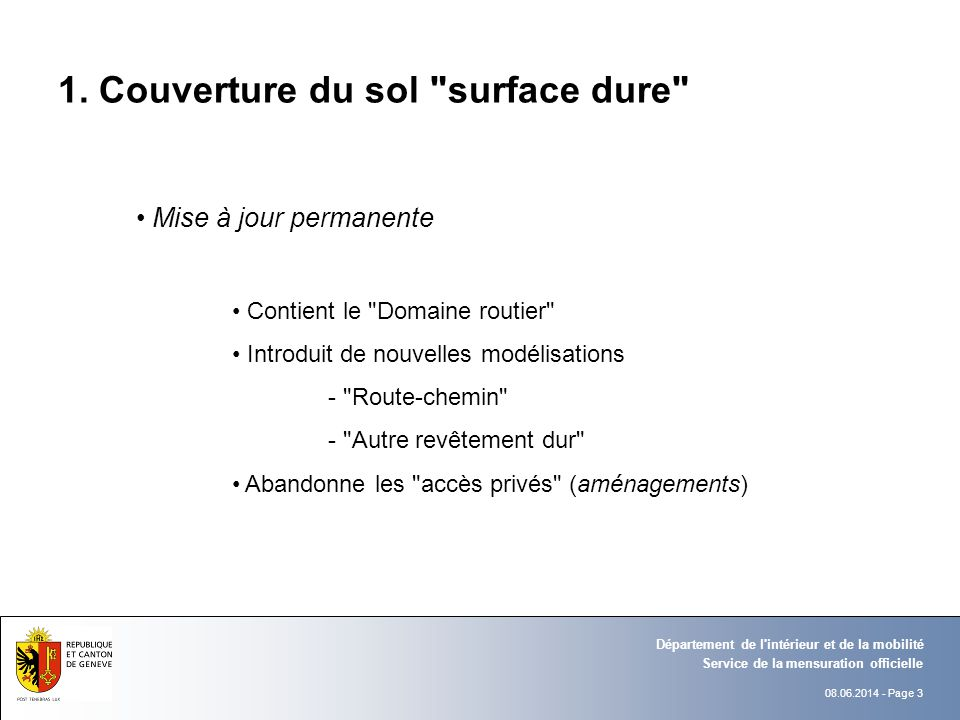 1. Couverture du sol surface dure