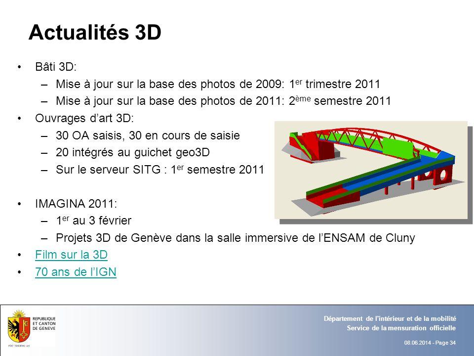 Actualités 3D Bâti 3D: Mise à jour sur la base des photos de 2009: 1er trimestre 2011.